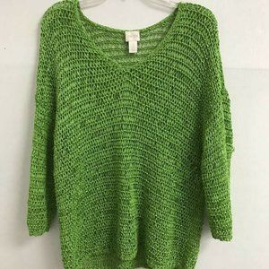Chicos 3 Pullover Sweater Green loose weave XL